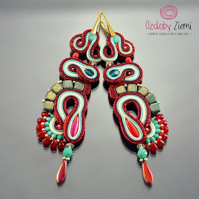 Red Soutache Earrings by Ozdoby Ziemi