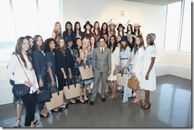 NEW YORK, NY - SEPTEMBER 14:  Designer Zac Posen poses in front of models at the Brooks Brothers SS 2017 Presentation during New York Fashion Week with creative director Zac Posen at The Glasshouses on September 14, 2016 in New York City.  (Photo by Andrew Toth/Getty Images for Brooks Brothers)