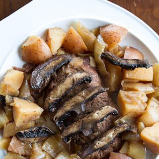 Crockpot Flat Iron Steak with Portobello Mushrooms & Potatoes.