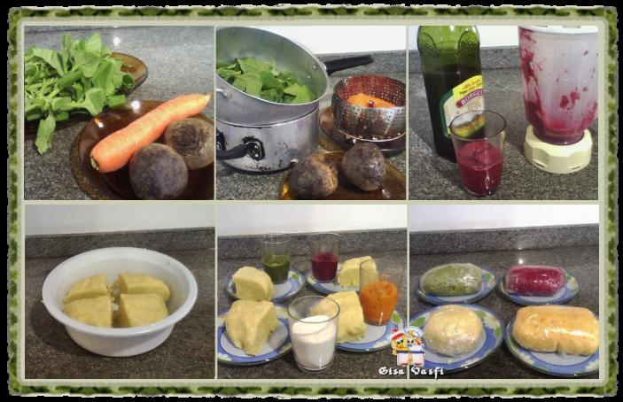 Nhoque de aipim, beterraba, cenoura e espinafre 2