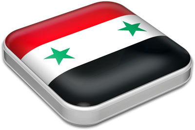 Flag of Syria with metallic square frame