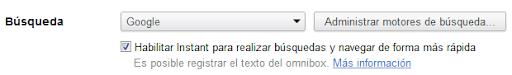 Habilitar Google Instant page en Chrome