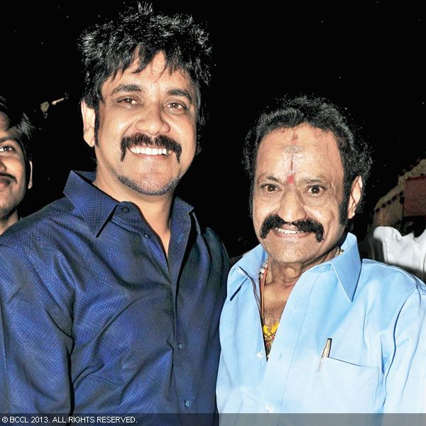 Nagarjuna and Hari Krishna pose for the cameras as they arrive for Hitesh Chenchuram and Sri Puja's wedding ceremony, held in the city recently.