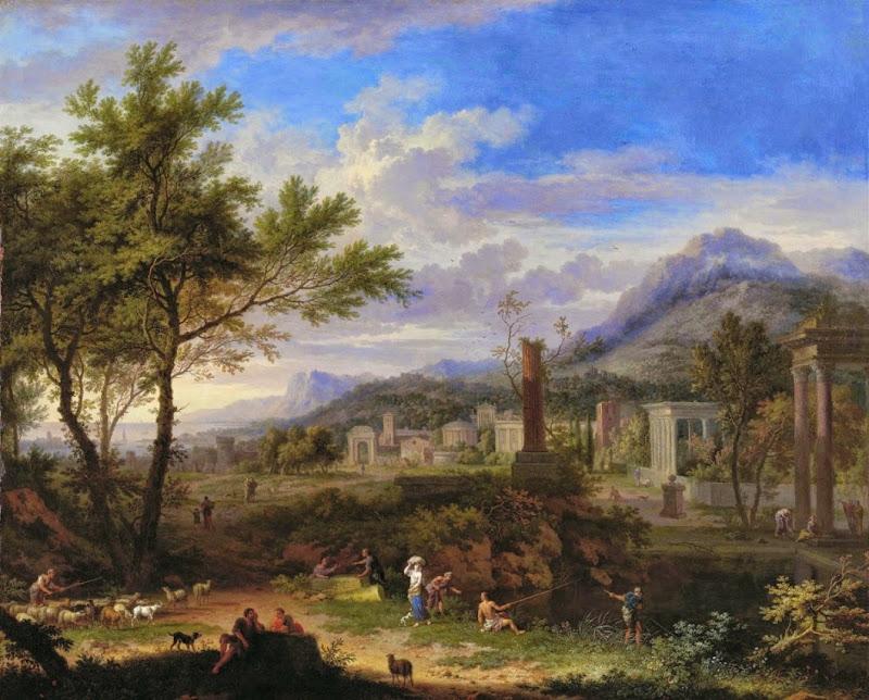 Jan van Huysum - Arcadian Landscape with Fishermen