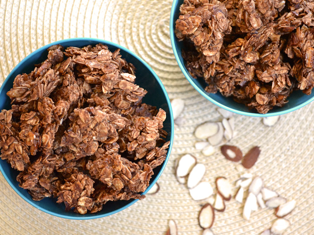 Top view of two bowls of Choco-Coconut Granola