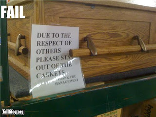 stay out of the pine coffins, warning in undertakers