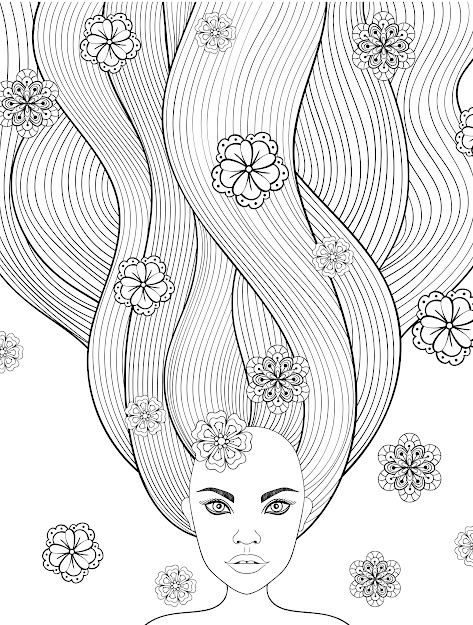 Crazy Hair Adult Coloring Pages  Page  Of  Long Hair Girlsprintable