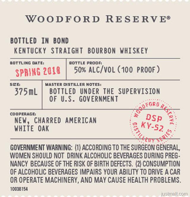 Woodford Reserve Distillery Series Bottled In Bond Spring 2018