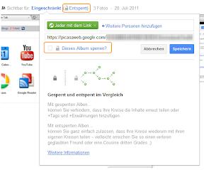 Google+ Album sperren