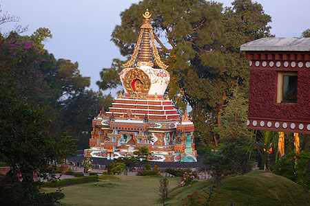 The Great Thousand Buddha Relic Stupa at Kopan Monastery, Nepal.