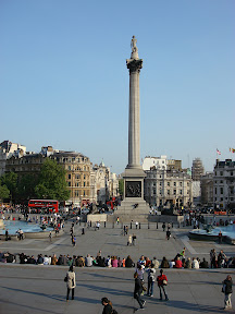 Trafalgar Square from steps of the British National Gallery