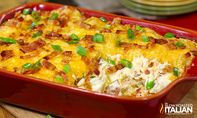 casserole dish of Cheesy Potato Casserole