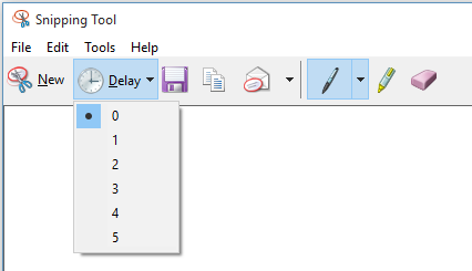 Snipping tool now has a delay timer