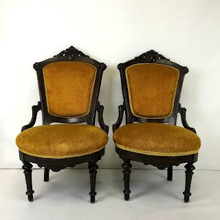 Orange Parlour Chair Pair