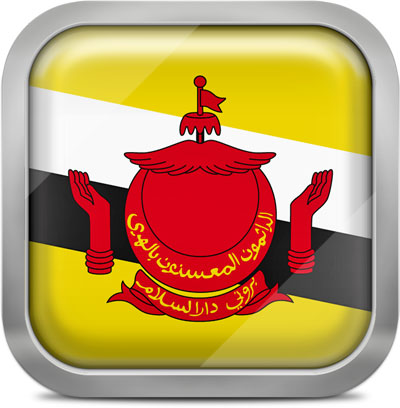 Brunei square flag with metallic frame