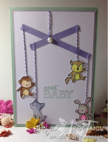 stampin up Stampin' Up! Mama Elephant Up and Away baby card cards hanging mobile coloring colouring copics copic markers mint macaron smoky slate wisteria wonder
