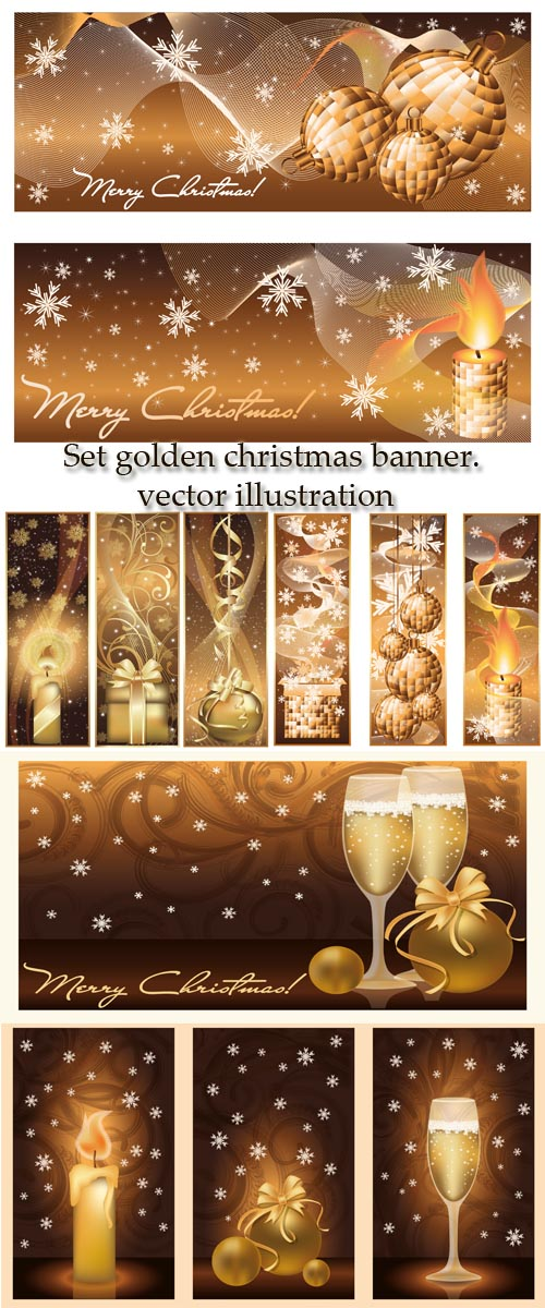 Stock: Set golden christmas banner. vector illustration