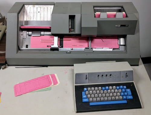 A PC-controlled IBM 029 keypunch punched my card deck.