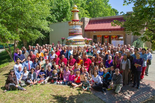 The Kadampa Center community gathers to celebrate completion of the Kadampa stupa, Raleigh, North Carolina,