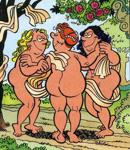 Las tres Gracias de Rubens, parodia