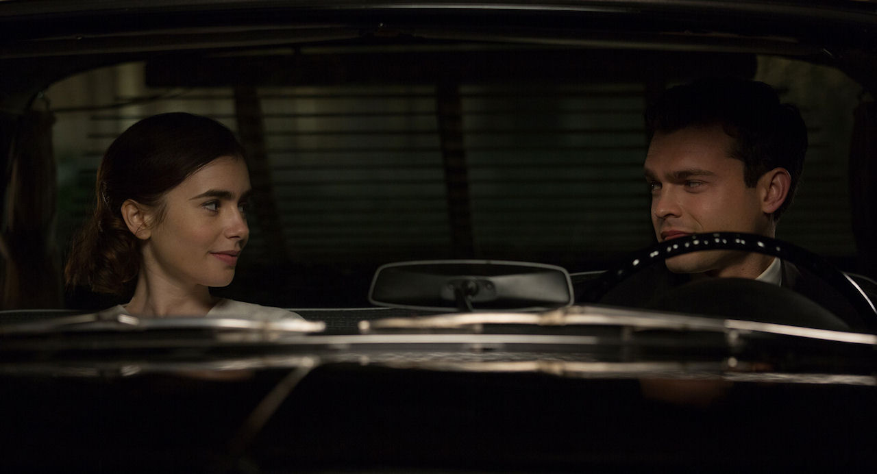 Marla Mabrey (Lily Collins) and Frank Forbes (Alden Ehrenreich) in RULES DON'T APPLY. (Photo Credit: Francois Duhamel / 20th Century Fox)
