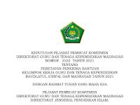 Keputusan PPK Direktorat GTK Madrasah no 2552 Tahun 2021 Tentang Penetapan Bantuan KKG/TK.
