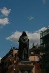 La statua di giordano bruno in Campo dei fiori a Roma