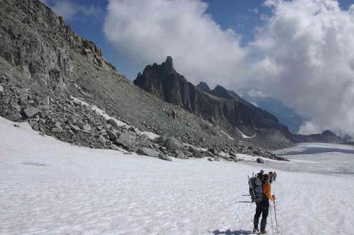 Descente sur le glacier d'Orny