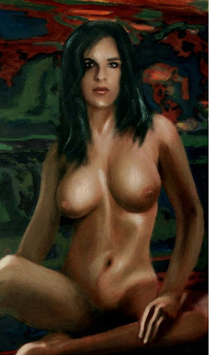 Traditional Modern Female Nude Standing, fine art original painting: FEMALE NUDE, SARA SEATED ... an original classical-styled fine art oil painting of a female nude. Original art paintings and prints, landscapes/seascapes, boats, sea and shore, abstracts, nudes, female nudes. Fine art work by G. Linsenmayer.