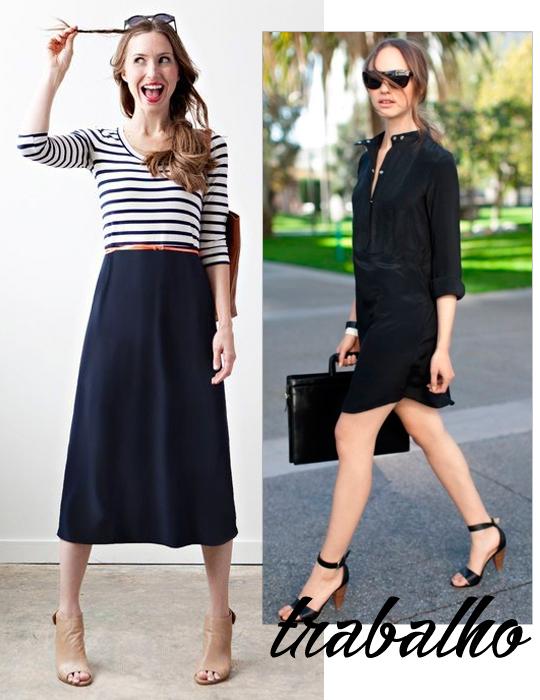 5861df39c493 O vestido casual é uma excelente alternativa para looks de trabalho. Apenas  tome cuidado com o comprimento e decote: lembre-se de que este ambiente  pede ...