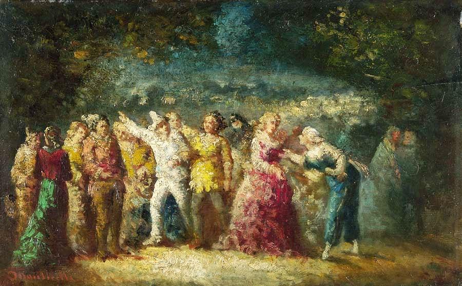 Adolphe-Joseph-Thomas Monticelli - Torchlight Procession