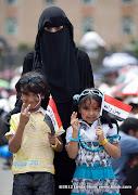 Abudurrahman and Raghad with Mama. Friday prayer on 60 Meter Rd, Sana'a, Yemen جمعة الوفاء لأبين  في شارع الستين بصنعاء