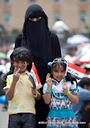 Abudurrahman and Raghad with Mama. Friday prayer on 60 Meter Rd, Sana'a, Yemen جمعة الوفاء لأبين  في شارع الستين بصنعاء