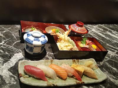 Sample dish presentation, bento style.