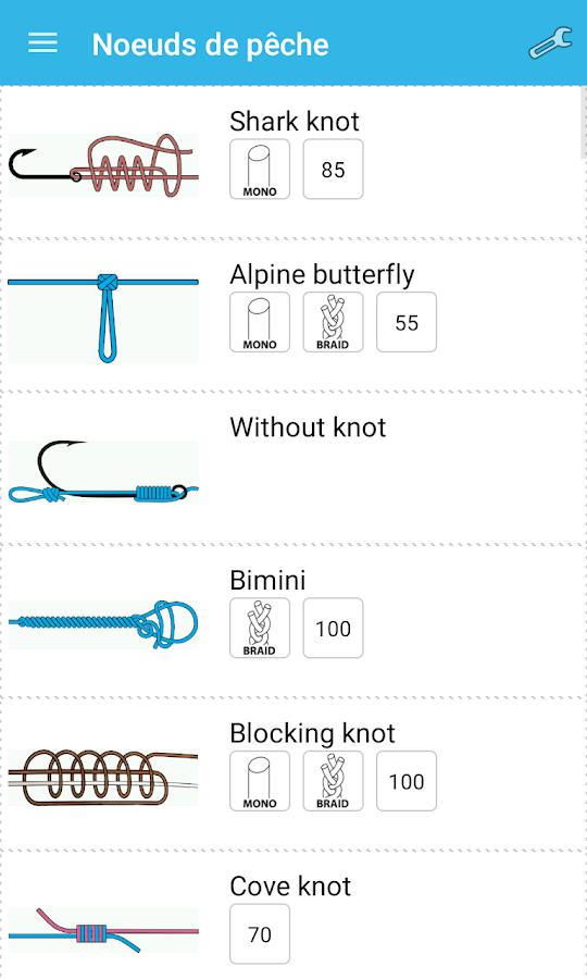 N uds de p che applications android sur google play - Noeud de sifflet de bosco ...