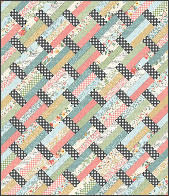 Fast Track quilt pattern by Andy Knowlton of A Bright Corner - made with Gingham Gardens fabric by Riley Blake Designs