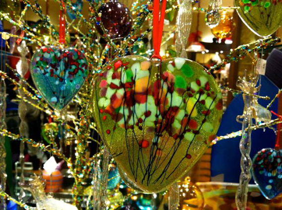 An extravaganza of heart-shaped holiday color at the Rubaiyat Gallery  in Calgary's Uptown 17th shopping district (submitted by Ingrid L.)