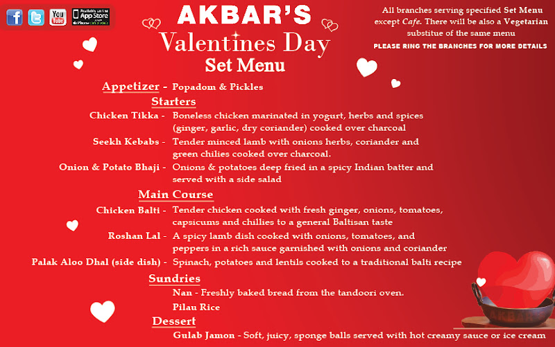 Akbar's Valentines Day 2013 Set Menu