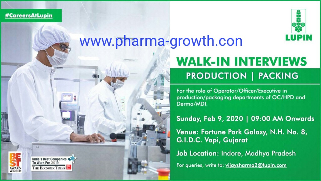 Lupin Limited - Walk in interview for Production, Packing on 9th Feb 2020