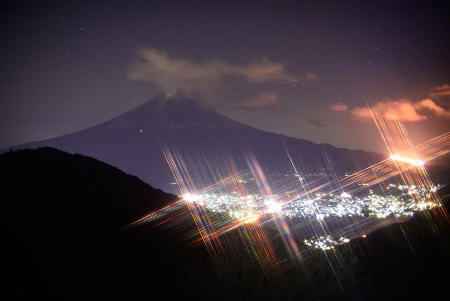 天下茶屋 富士山 夜景 クロススクリーンフィルター