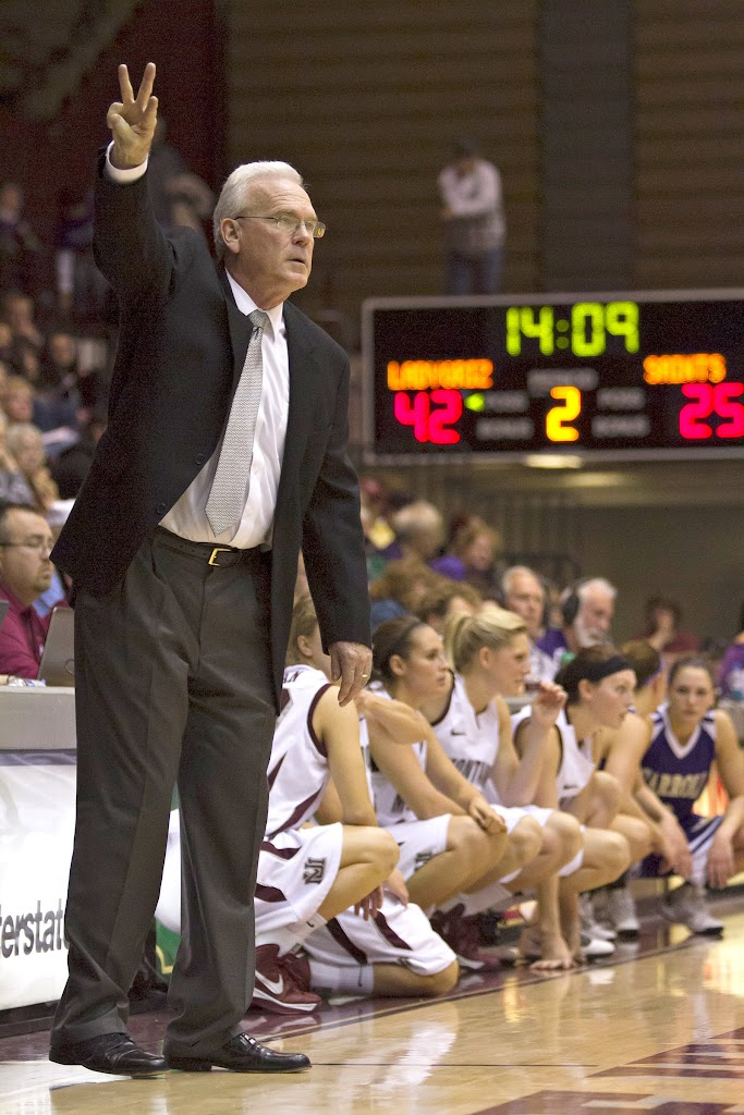 Lady Griz Head Coach Robin Selvig calls out plays as the relief squad prepares to take the court.Dahlberg Arena in Missoula, Mont., October 30th, 2012. Photo by Austin Smith