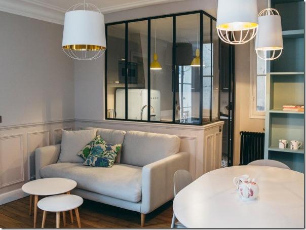 Piccoli spazi interni parigini retr chic in 52 mq for Piccoli piani di casa francese