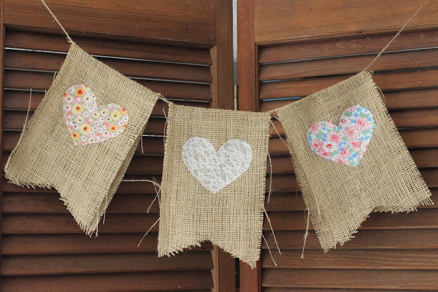 Burlap heart bunting available for rent from www.momentarilyyours.com, $5.00.