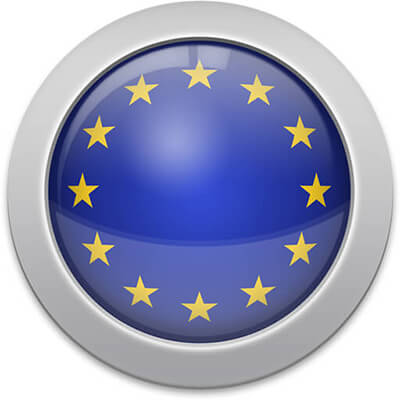 European flag icon with a silver frame