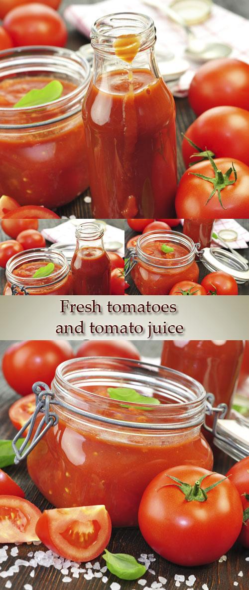 Stock Photo: Fresh tomatoes and tomato juice