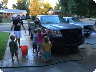 Washing the Truck with Wesley and Grandpa