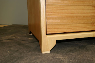 Photo: Jonathan's cabinet - foot detail (The light is cruel to a perfect mitre)