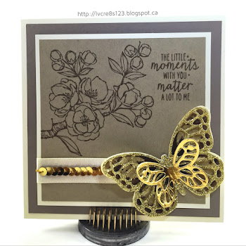 Linda Vich Creates: Watercolor Wings: A Study In Neutrals. A stunning combo of neutral card stocks combined with glitzy butterflies and stamped flowers from Indescribable Gift and you have a recipe for a successful card!