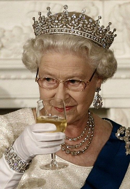 Image result for queen elizabeth with champagne