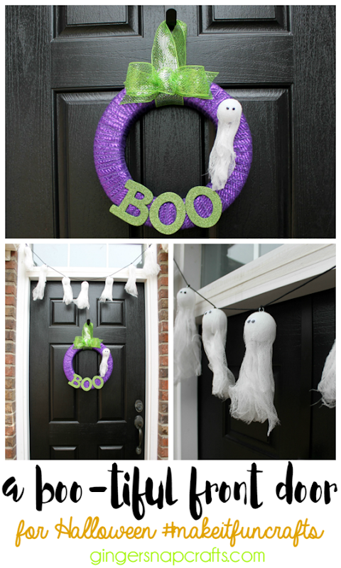 a Bootiful Front Door for Halloween #makeitfuncrafts   #ad